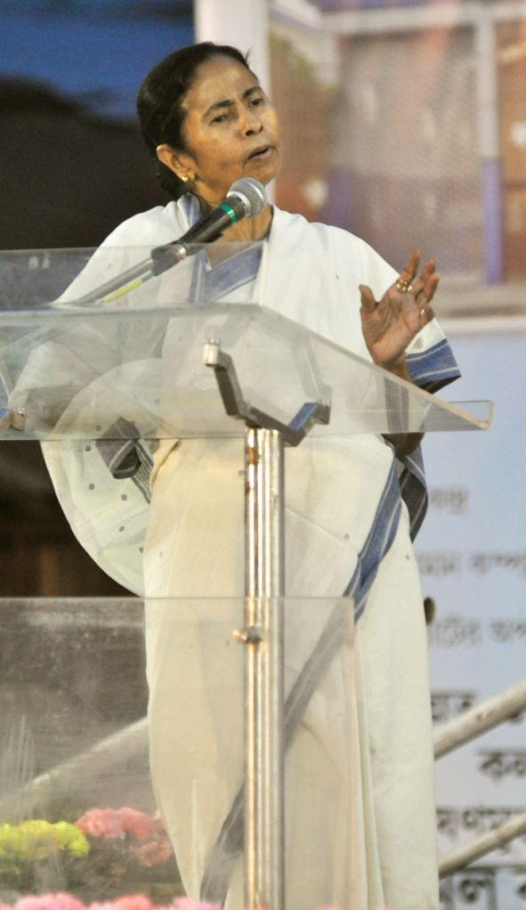 West Bengal Chief Minister and Trinamool Congress supremo Mamata Banerjee addresses at a public meeting ahead of Kolkata Municipal Corporation Polls in Kolkata, on April 12, 2015.
