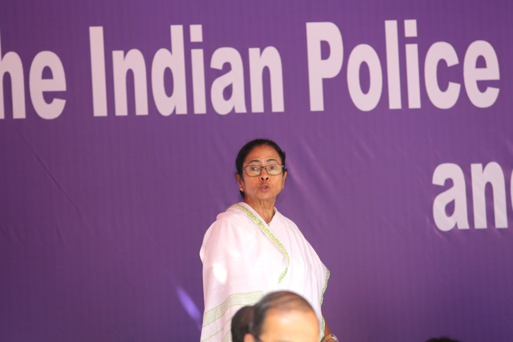 Kolkata: West Bengal Chief Minister and Trinamool Congress (TMC) supremo Mamata Banerjee during a sit-in (dharna) demonstration over the CBI's attempt to question Kolkata Police Commissioner Rajeev Kumar in connection with a ponzi scheme scam, in Kol - Mamata Banerjee