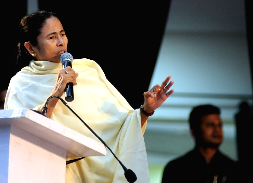 Kolkata: West Bengal Chief Minister and Trinamool Congress (TMC) supremo Mamata Banerjee addresses during extended core committee meeting of TMC in Kolkata on Feb 25, 2019. (Photo: IANS) - Mamata Banerjee