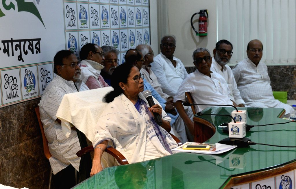 Kolkata: West Bengal Chief Minister and Trinamool Congress (TMC) supremo Mamata Banerjee with others party leaders during party's core community meeting at her residence in Kolkata, on May 31, 2019. (Photo: IANS) - Mamata Banerjee