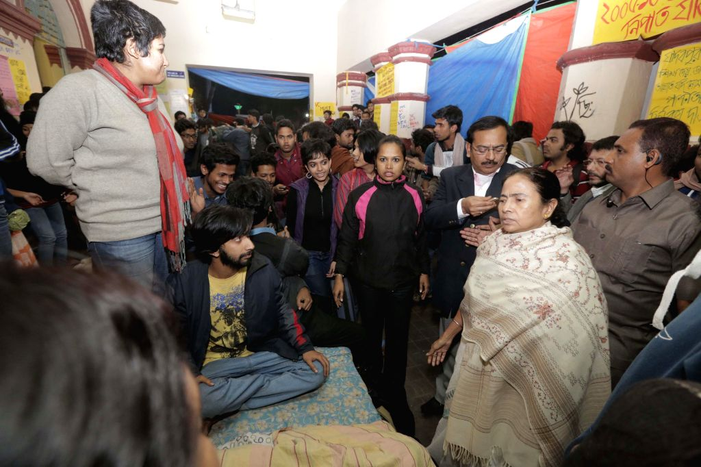 West Bengal Chief Minister Mamata Banerjee meets striking students of Jadavpur University after announcing resignation of Jadavpur University Vice Chancellor Abhijit Chakrabarti at the ... - Mamata Banerjee