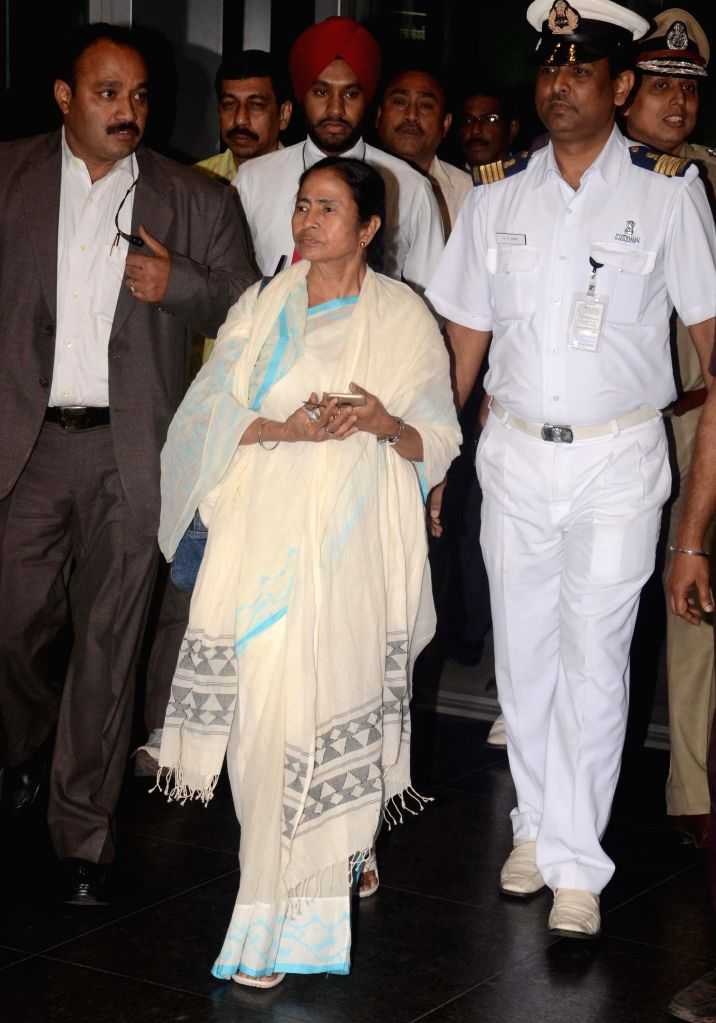 West Bengal Chief Minister Mamata Banerjee arrives at Netaji Subhas Chandra Bose International Airport as returns back from her Bangladesh tour on Feb 22, 2015. - Mamata Banerjee