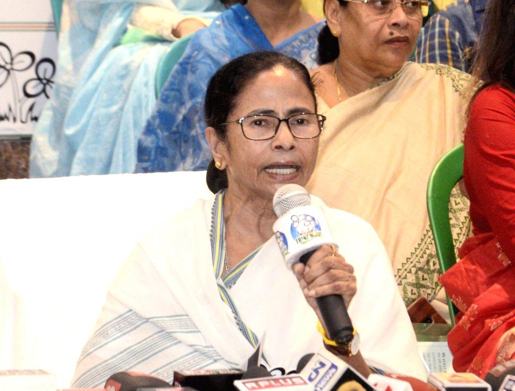 Kolkata: West Bengal Chief Minister Mamata Banerjee addresses a press conference in Kolkata, on March 13, 2019. (Photo: IANS) - Mamata Banerjee