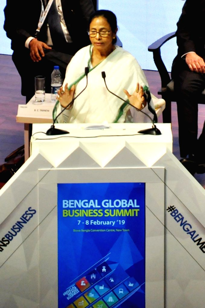 Kolkata: West Bengal Chief Minister Mamata Banerjee addresses during Bengal Global Business Summit (BGBS) 2019 in Kolkata, on Feb 7, 2019. (Photo: Kuntal Chakrabarty/IANS) - Mamata Banerjee