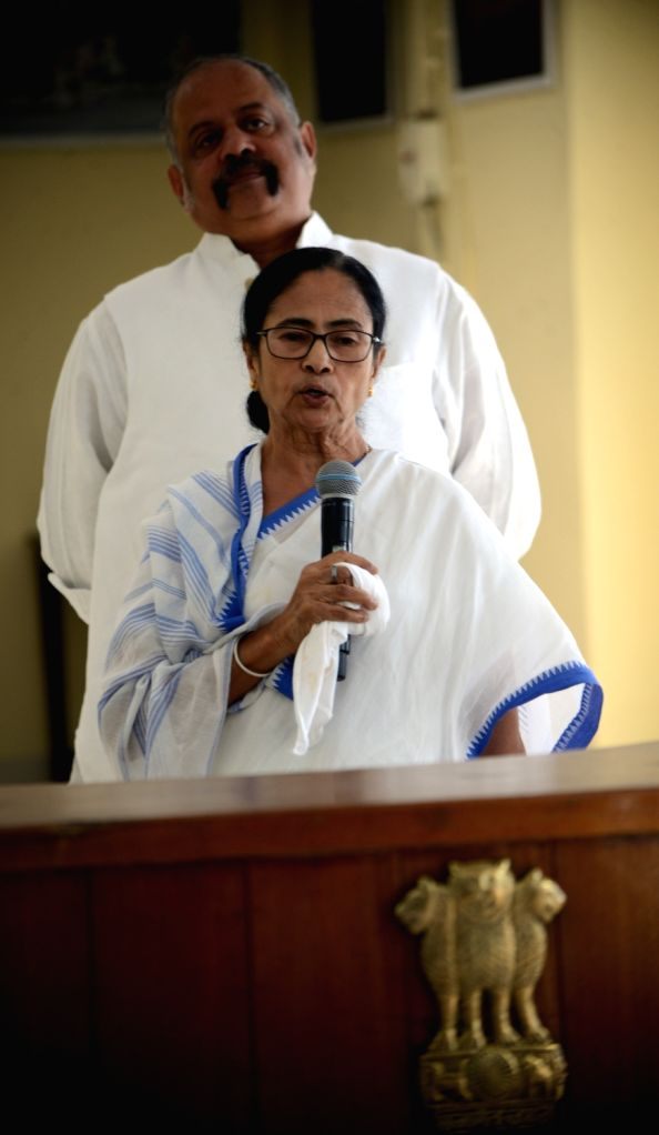 Kolkata: West Bengal Chief Minister Mamata Banerjee addresses the media on precautionary measures that can be followed by the people to stay protected from COVID-19 amid coronavirus pandemic, at Nabanna in Howrah on March 20, 2020. (Photo: IANS) - Mamata Banerjee