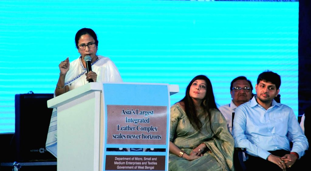 Kolkata: West Bengal Chief Minister Mamata Banerjee during a programme organsied to lay the foundation stone of new projects at Calcutta Leather Complex (CLC) at Bantala in Kolkata on July 18, 2019. (Photo: IANS) - Mamata Banerjee