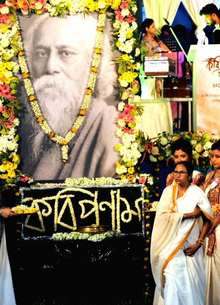 Kolkata: West Bengal Chief Minister Mamata Banerjee during a programme organised to celebrate Rabindranath Tagore's birth anniversary in Kolkata on May 9, 2019. (Photo: IANS) - Mamata Banerjee