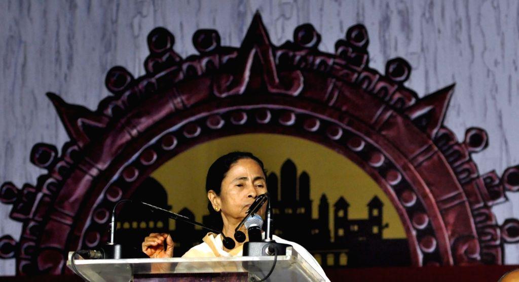 Kolkata: West Bengal Chief Minister Mamata Banerjee during inauguration of International Kolkata Book Fair 2019 in Kolkata on Jan 31, 2019. (Photo: Kuntal Chakrabarty/IANS) - Mamata Banerjee