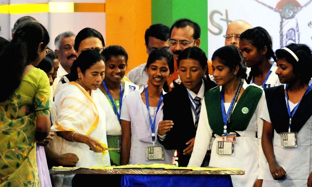 """Kolkata: West Bengal Chief Minister Mamata Banerjee during the 5th anniversary celebrations of """"Kanyashree Diwas"""", in Kolkata on Aug 14, 2018. (Photo: IANS) - Mamata Banerjee"""