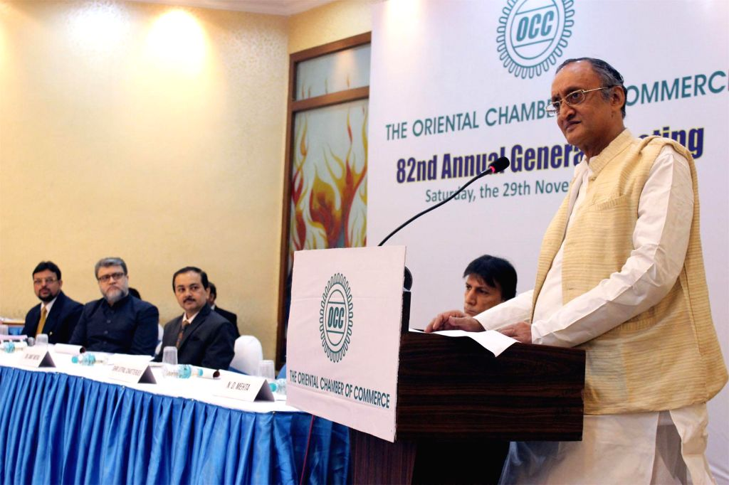 West Bengal Finance Minister Amit Mitra during Annual General Meeting of Oriental Chamber of Commerce in Kolkata on Nov. 29, 2014.