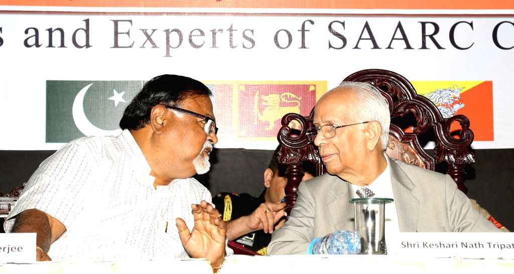 West Bengal Governor Keshari Nath Tripathi with West Bengal Education Minister Partha Chatterjee during inauguration of a conclave on education and cultural co-operation among SAARC nations ... - Partha Chatterjee and Keshari Nath Tripathi