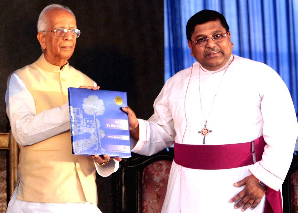 West Bengal Governor Keshari Nath Tripathi and Bishop of Calcutta Rt. Rev. Ashok Biswas at the sesquicentennial celebrations of St. James' School  in Kolkata, on May 5, 2015. - Keshari Nath Tripathi