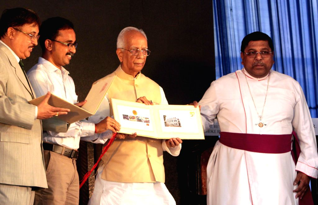 West Bengal Governor Keshari Nath Tripathi, Bishop of Calcutta Rt. Rev. Ashok Biswas and others at the sesquicentennial celebrations of St. James' School  in Kolkata, on May 5, 2015. - Keshari Nath Tripathi