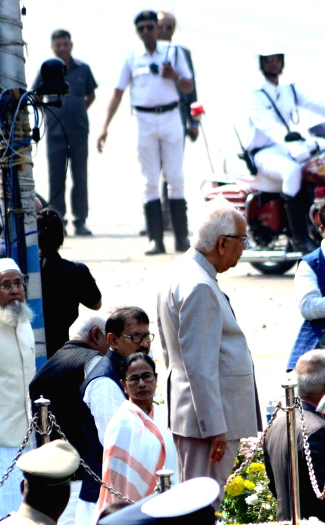 Kolkata: West Bengal Governor Keshari Nath Tripathi and Chief Minister Mamata Banerjee arrive to witness the 2019 Republic Day Parade at Red Road in Kolkata, on Jan 26, 2019. (Photo: IANS) - Mamata Banerjee and Keshari Nath Tripathi