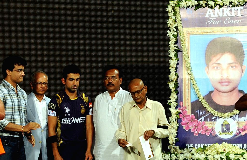 West Bengal Housing Minister Arup Biswas,former Indian cricketer Sourav Ganguly, Kolkata Knight Riders captain Gautam Gambhir and others pay tribute to late Bengal cricketer Ankit Keshri, ... - Arup Biswas and Sourav Ganguly