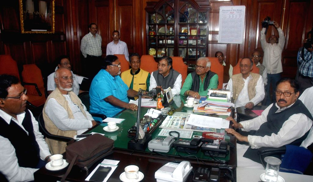 West Bengal Ministers Partha Chatterjee, Amit Mitra, Firhad Hakim and others during an all party meeting called by West Bengal Legislative Assembly Speaker Biman Banerjee in Kolkata on Feb .. - Biman Banerjee, Partha Chatterjee, Amit Mitra and Firhad Hakim
