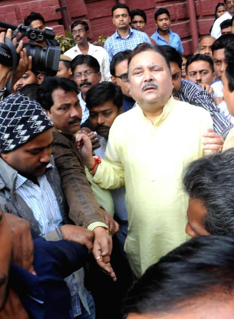 West Bengal Transport Minister Madan Mitra after being discharged from SSKM Hospital in Kolkata, on Nov 26, 2014.