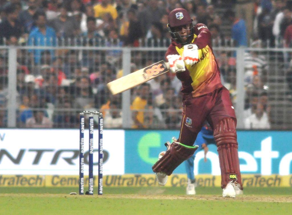 Kolkata: West Indies batsman Fabian Allen in action during T20 match between India and West Indies at Eden Garden in Kolkata on Nov. 4, 2018. (Photo: Kuntal Chakrabarty/IANS) - Fabian Allen