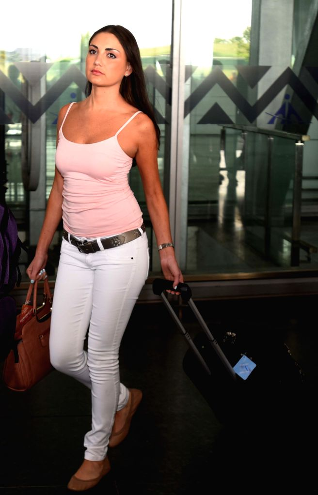 Wife of KKR player arrives at Netaji Subhas Chandra Bose Airport in Kolkata on May 3, 2015.