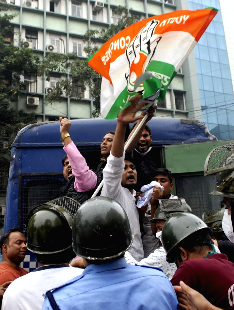 Kolkata: Youth Congress activists demonstrated against the price hike of electricity in front of CESC headquarter Victoria House in Kolkata on Saturday 20th February 2021. (Photo: Kuntal Chakrabarty/IANS)