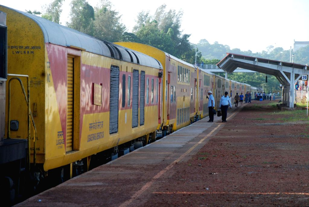 Konkan Railway Double-Decker train at the Karmali Railway Station in Goa.