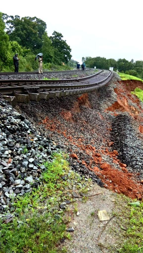 Konkan Railway services were disrupted after a landslide occurred near Karwar village in Maharashtra's Amravati, on Aug 9, 2019.