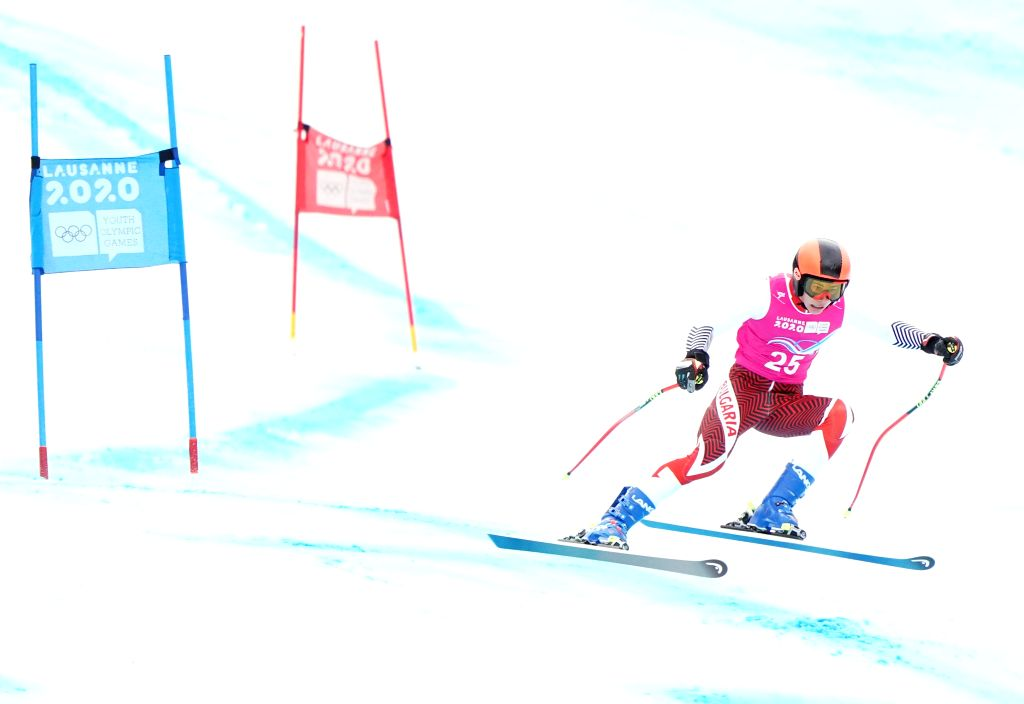 Konstantin Stoilov of Bulgaria competes during the Men's Super-G of Alpine Skiing at the 3rd Winter Youth Olympic Games (YOG) at Les Diablerets Alpine ...
