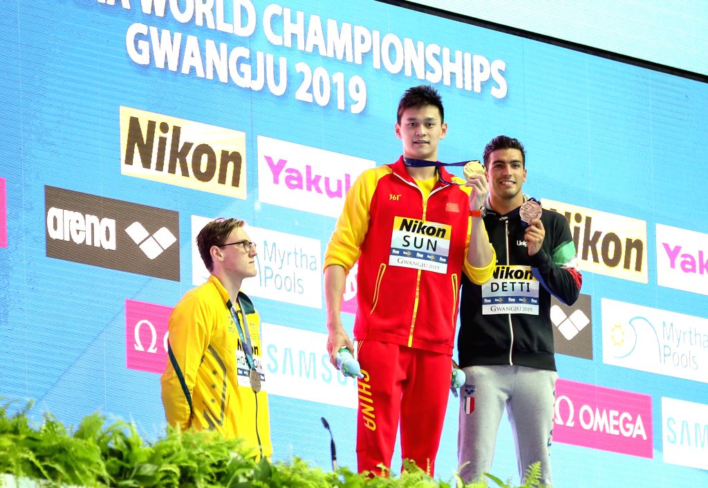 KOREA, July 21, 2019 - Sun Yang (C) of China, Mack Horton (L) of Australia and Gabriele Detti of Italy pose during the medal ceremony for the men's 400m freestyle final at the Gwangju 2019 FINA World ...