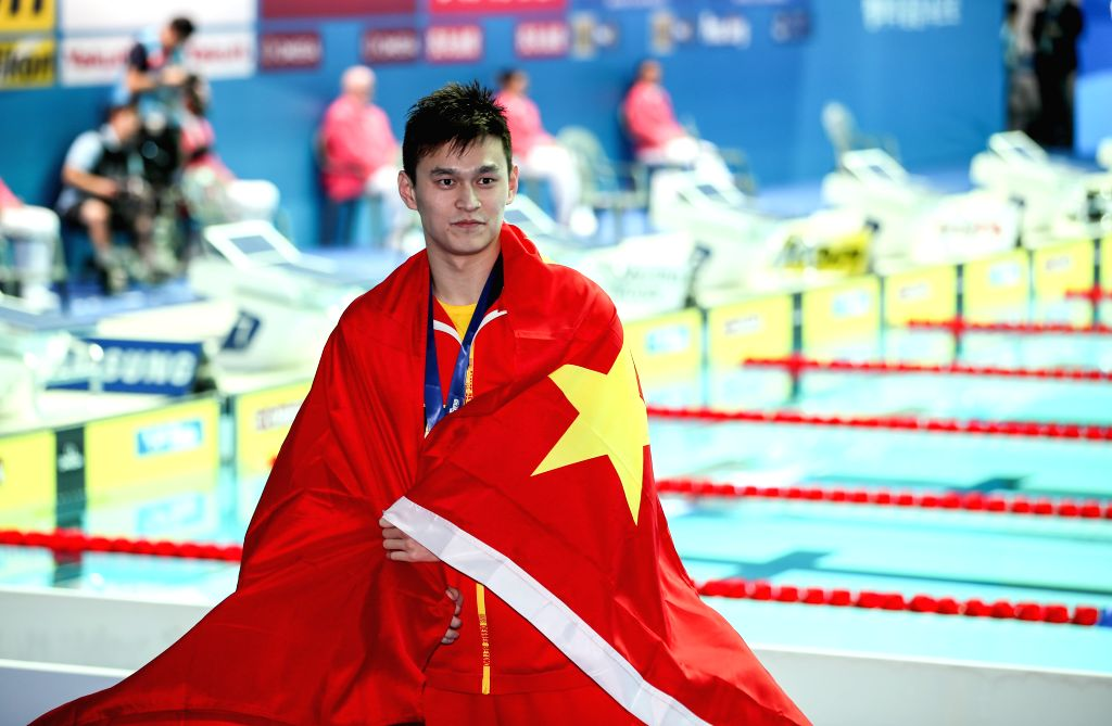 KOREA, July 21, 2019 - Sun Yang of China reacts during the medal ceremony for the men's 400m freestyle final at the Gwangju 2019 FINA World Championships in Gwangju, South Korea, July 21, 2019.