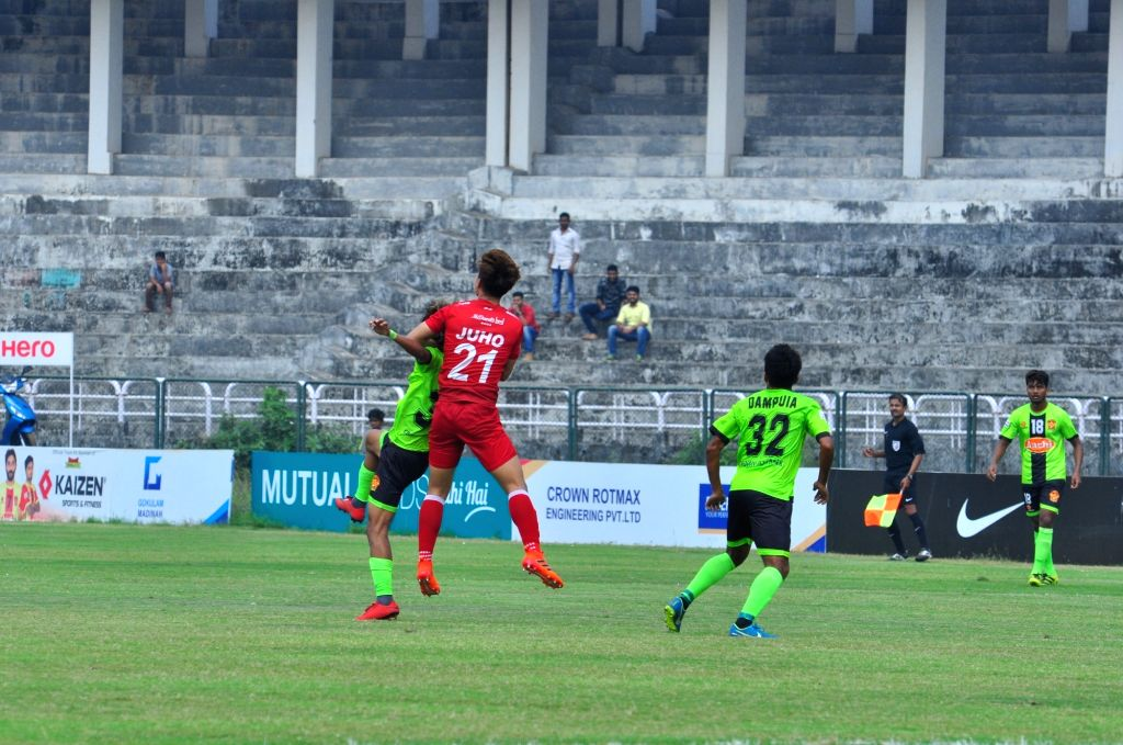 :Kozhikode: Players in action during an I-League match Gokulam kerala FC and Shillong Lajong FC at the EMS Corporation Stadium in Kozhikode on Jan 28, 2018. (Photo: IANS).