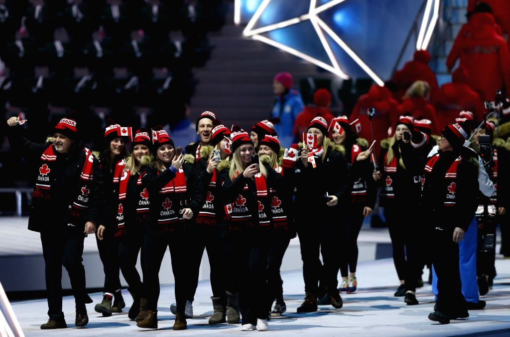 KRASNOYARSK, March 2, 2019 - Members of the Canadian delegation march on the stage during the opening ceremony of 29th Winter Universiade in Krasnoyarsk, Russia, March 2, 2019.
