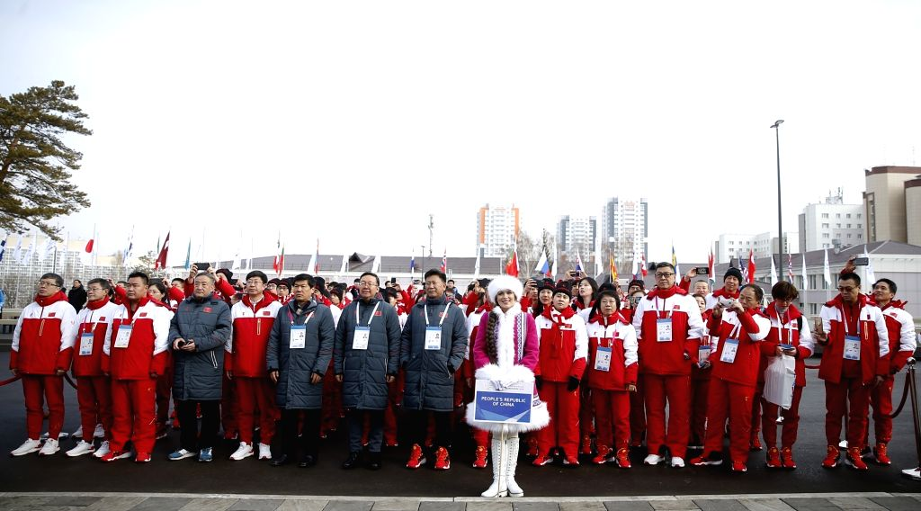 KRASNOYARSK, March 2, 2019 - Members of the Chinese delegation participate in a flag-raising ceremony before the 29th Winter Universiade in Krasnoyarsk, Russia, March 2, 2019.