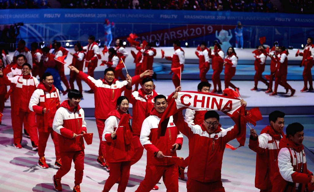 KRASNOYARSK, March 2, 2019 - Members of the Chinese delegation march on the stage during the opening ceremony of 29th Winter Universiade in Krasnoyarsk, Russia, March 2, 2019.