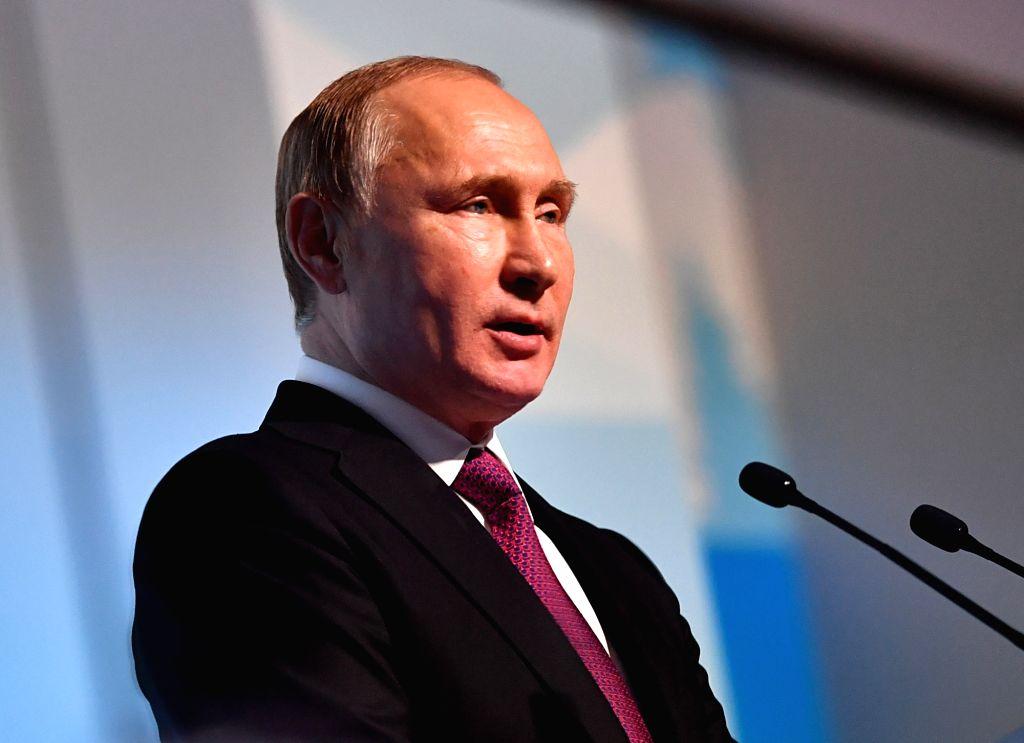 KRASNOYARSK, March 3, 2019 - Russian President Vladimir Putin addresses the opening ceremony of 29th Winter Universiade in Krasnoyarsk, Russia, March 2, 2019.