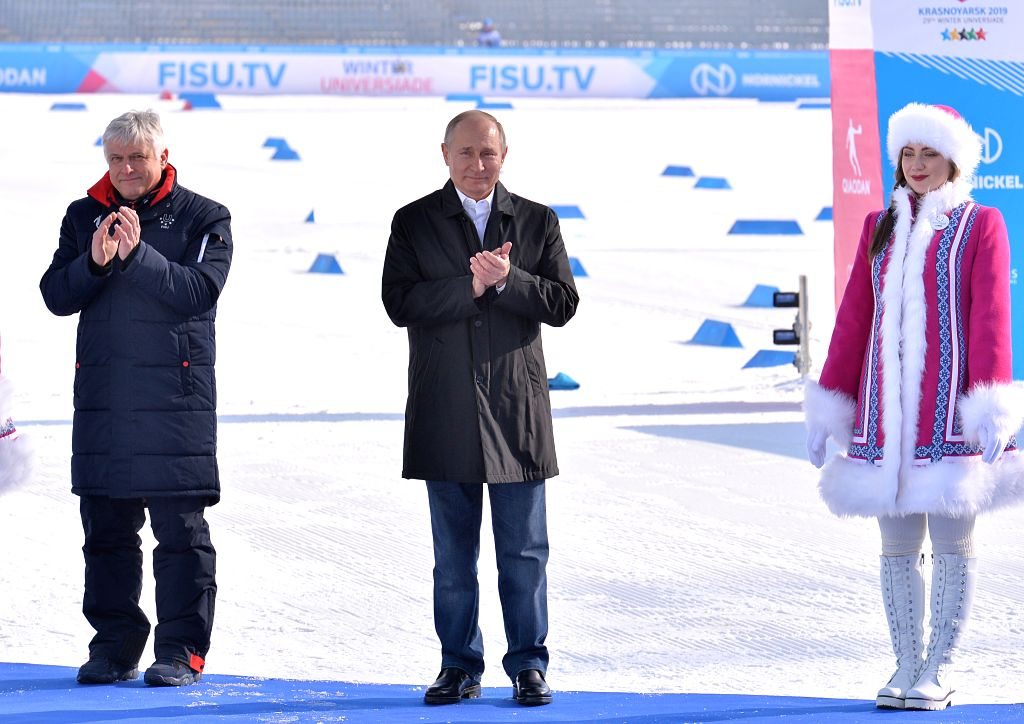 KRASNOYARSK, March 3, 2019 - Russian President Vladimir Putin (C) attends the awarding ceremony after the cross country skiing men's 10km individual at the 29th Winter Universiade in Krasnoyarsk, ...