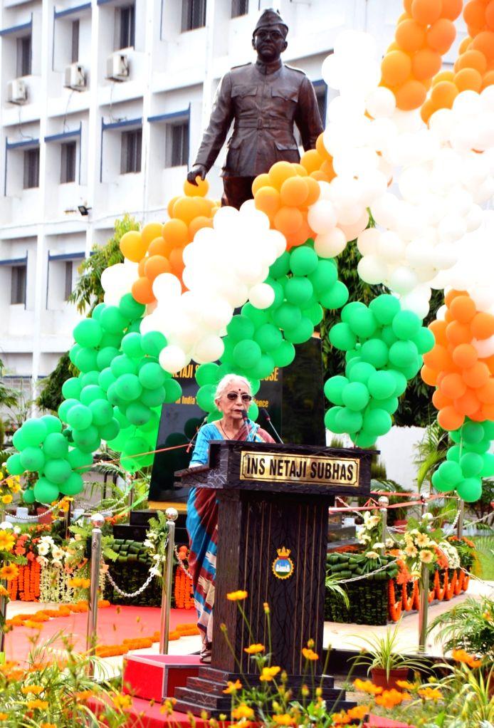Krishna Bose, wife of Netaji's nephew during the unveil of 8 ft. tall bronze statue of Netaji Subhas Chandra Bose at the Naval establishment in Kolkata on Sept 10, 2017. - Bose