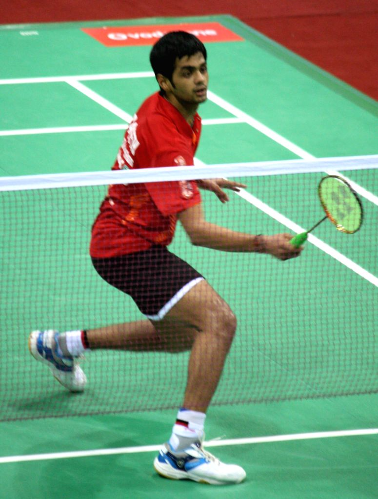 Krrish Delhi Smashers' B. Sai Praneeth beat Pune Pistons' Nguyen Tien Minh in the first match of the inaugural Indian Badminton League in Delhi on August 14, 2013. (Photo::: IANS)