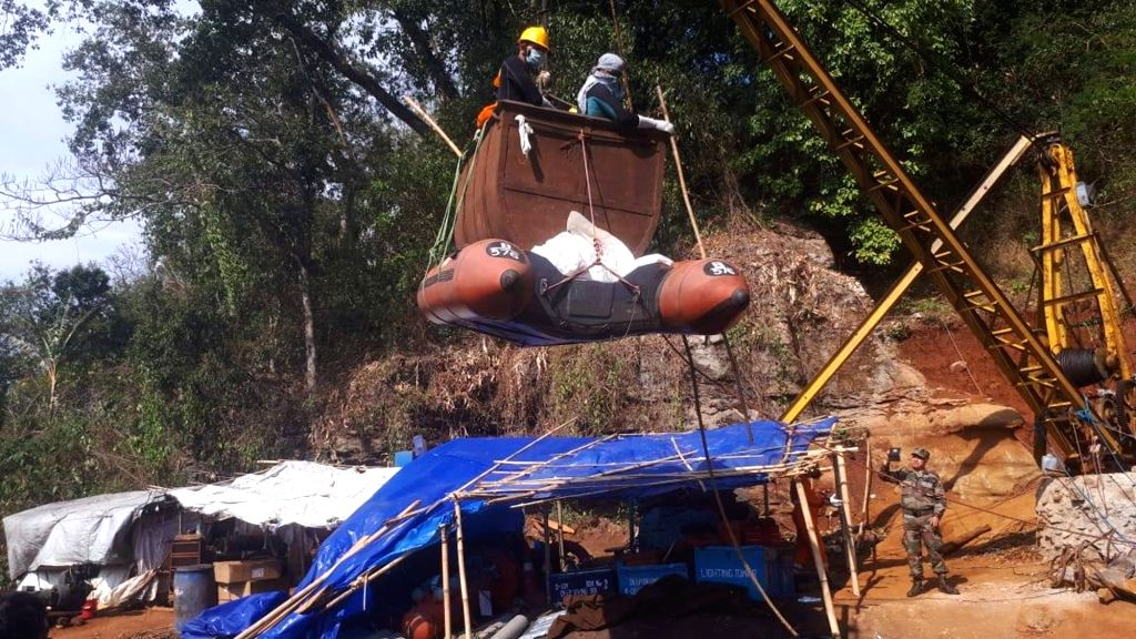 Ksan: The body of a miner that was pulled out from a 370 feet deep flooded coal mine by a Navy team, in Ksan of Meghalaya's East Jaintia Hills district, on Feb 27, 2019. The highly decomposed unidentified body was pulled to the water surface by the I