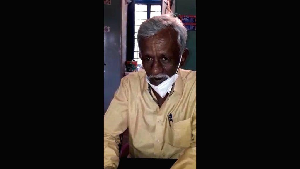 KSRP constable M.K. Manjunath who wrote 10th class board exam at Kolar in Karnataka.