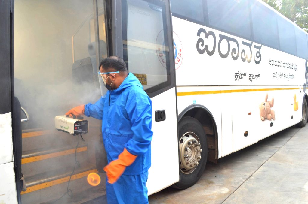 KSRTC health officers , as KSRTC to resume operations from tomorrow with precautionary measures for Coronavirus, in Bengaluru on June 24, 2020.