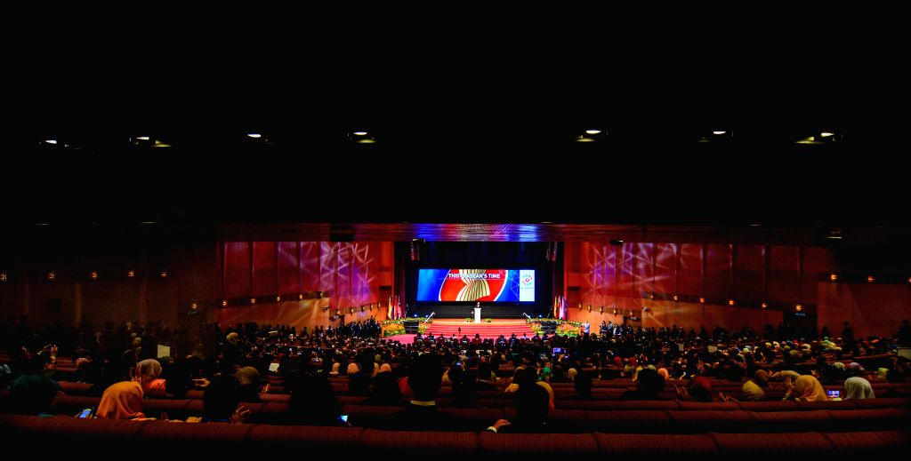 Photo taken on April 27, 2015 shows a scene of the opening ceremony of the 26th Association of Southeast Asian Nations (ASEAN) summit in Kuala Lumpur, ... - Najib Razak