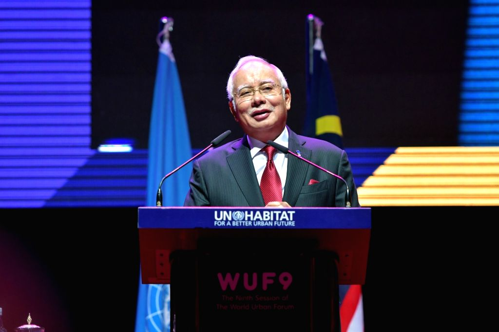 KUALA LUMPUR, Feb. 8, 2018 - Malaysian Prime Minister Najib Razak speaks at the official opening of the ninth World Urban Forum (WUF9) in Kuala Lumpur, Malaysia, Feb. 8, 2018. The ninth World Urban ... - Najib Razak