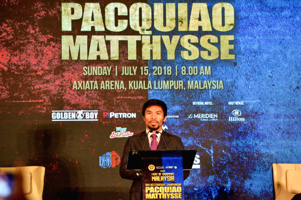 KUALA LUMPUR, July 12, 2018 - Boxing legend Manny Pacquiao speaks at a pre-match press conference in Kuala Lumpur, Malaysia, July 12, 2018. The highly anticipated fight between Lucas Matthysse, the ...