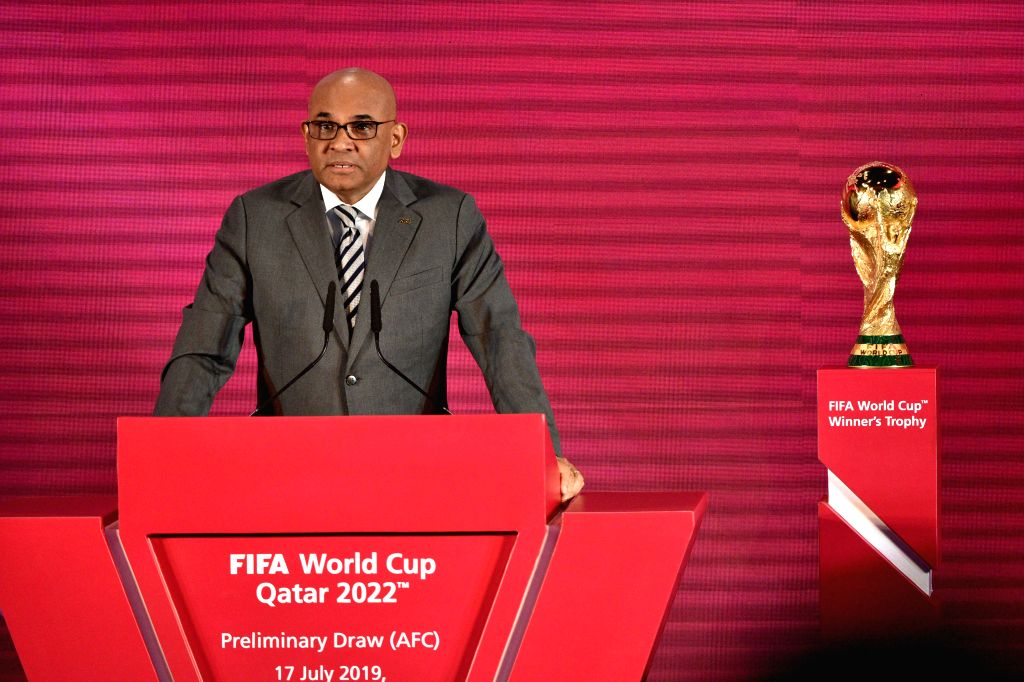KUALA LUMPUR, July 17, 2019 - Asian Football Confederation (AFC) General Secretary Windsor John speaks during the drawing ceremony for the second round of FIFA World Cup Qatar 2022 Asian qualifiers ...