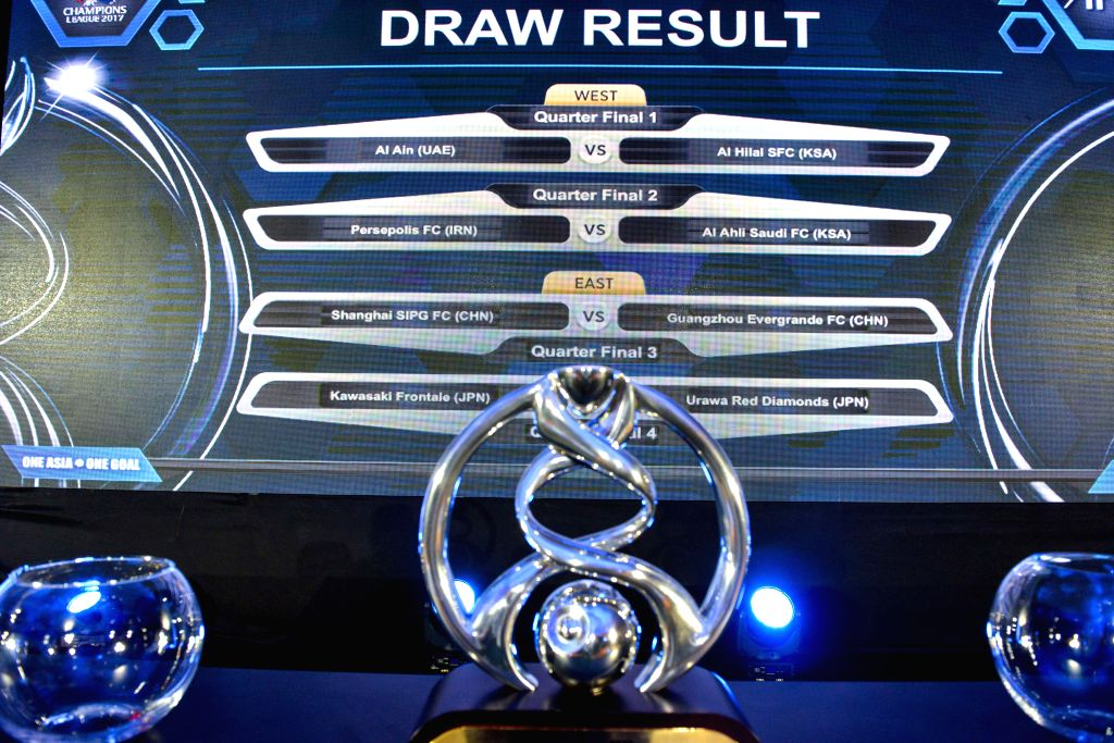 KUALA LUMPUR, June 6, 2017 - A screen displays the results of the 2017 AFC Champions League football quarter-finals knock-out stage draw in Kuala Lumpur, Malaysia, on June 6, 2017.