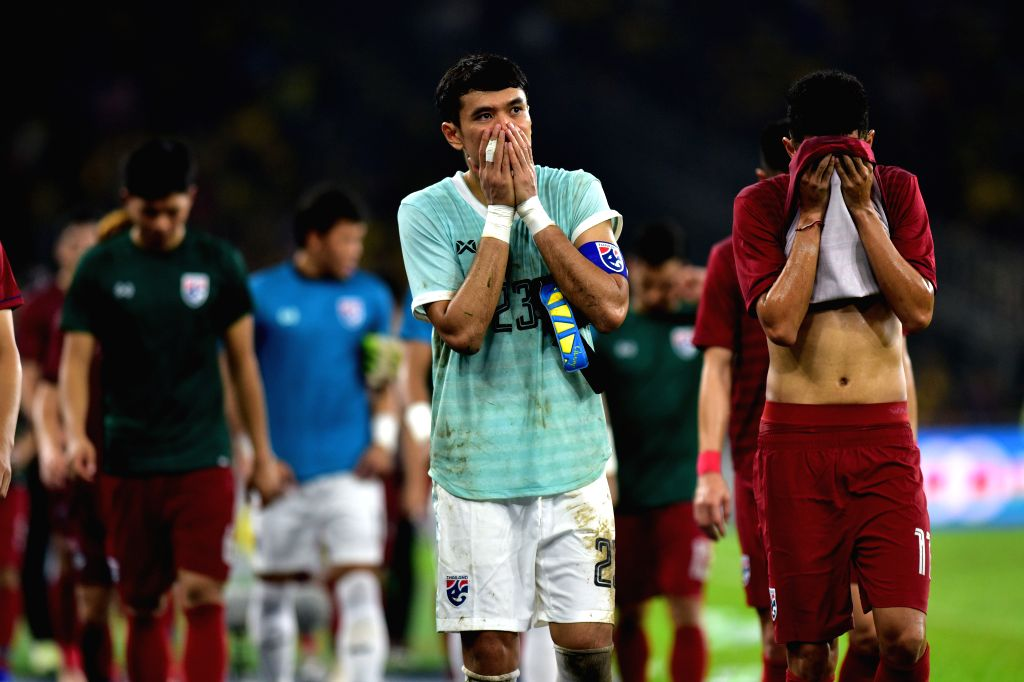 KUALA LUMPUR, Nov. 15, 2019 - Players of Thailand react after the group G match against Malaysia at the FIFA World Cup Qatar 2022 and AFC Asian Cup China 2023 Preliminary Joint Qualification Round 2, ...