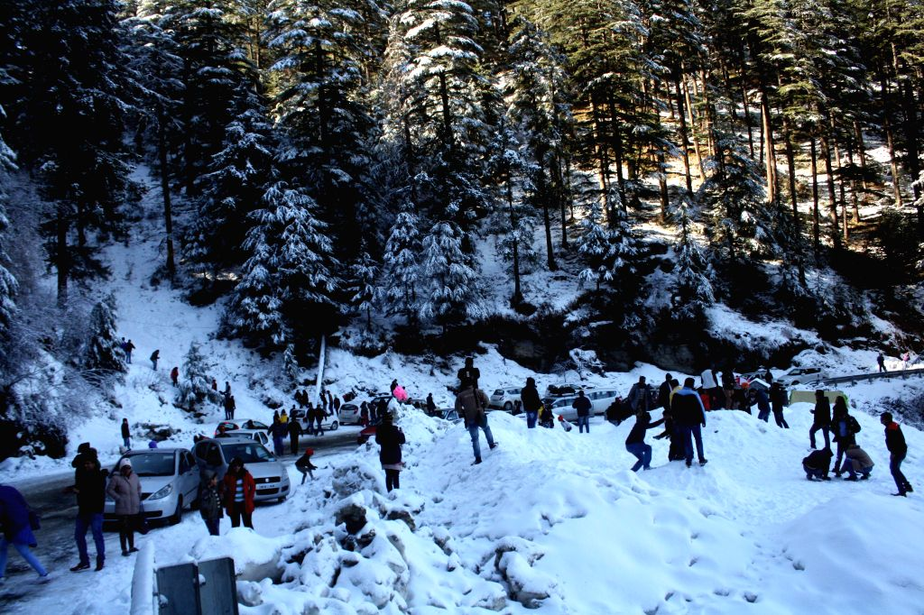 Tourists enjoy themselves as Kufri receives the first snowfall of the year, near Shimla on Jan 4, 2015.