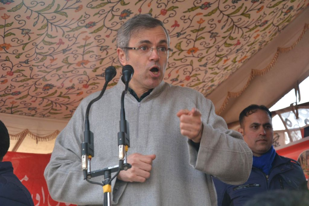 Kulgam: National Conference leader Omar Abdullah address during a party programme in Jammu and Kashmir's Kulgam district on Jan 15, 2019. (Photo: IANS)