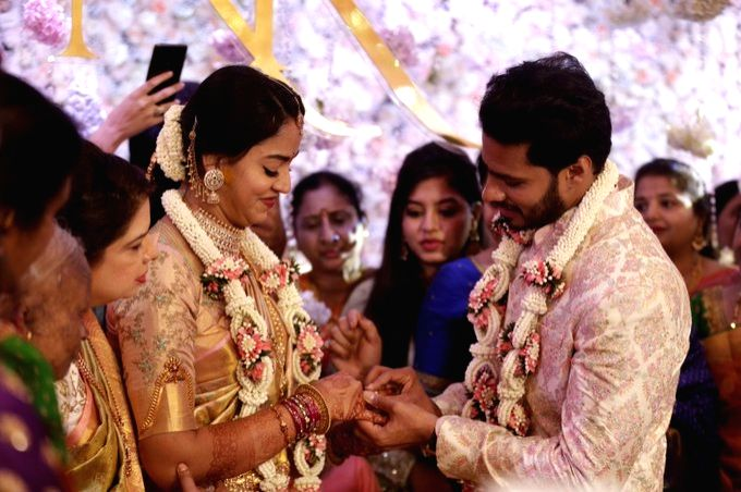 Kumaraswamy's son Nikhil gets engaged to Revathi .