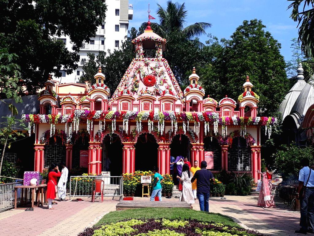 Kumari Puja rituals underway at Karunamoyee Kali Mandir on the occassion of 'Kali Puja' in Kolkata on Oct 27, 2019.